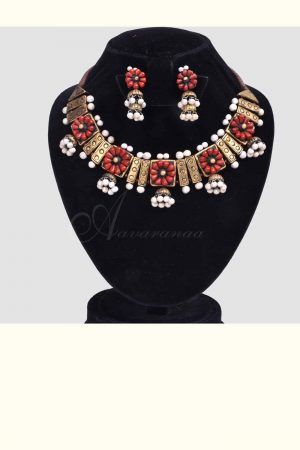 Red and silver terracotta neckpiece-0