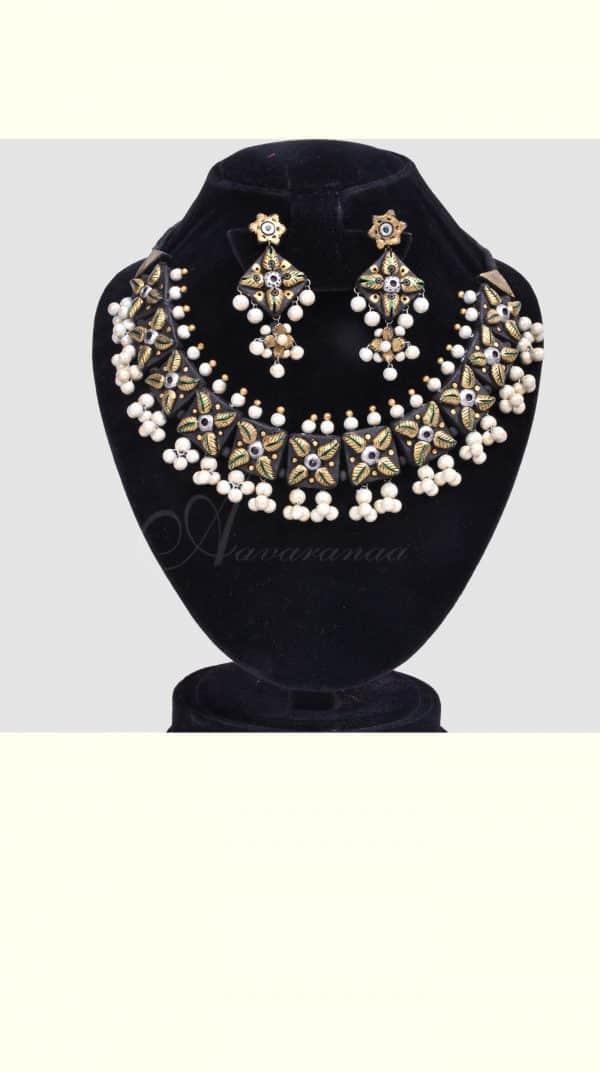 Black silver and gold terracotta neckpiece-0