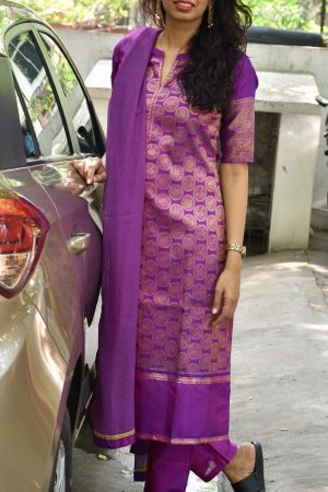 Purple kanchi silk suit-0