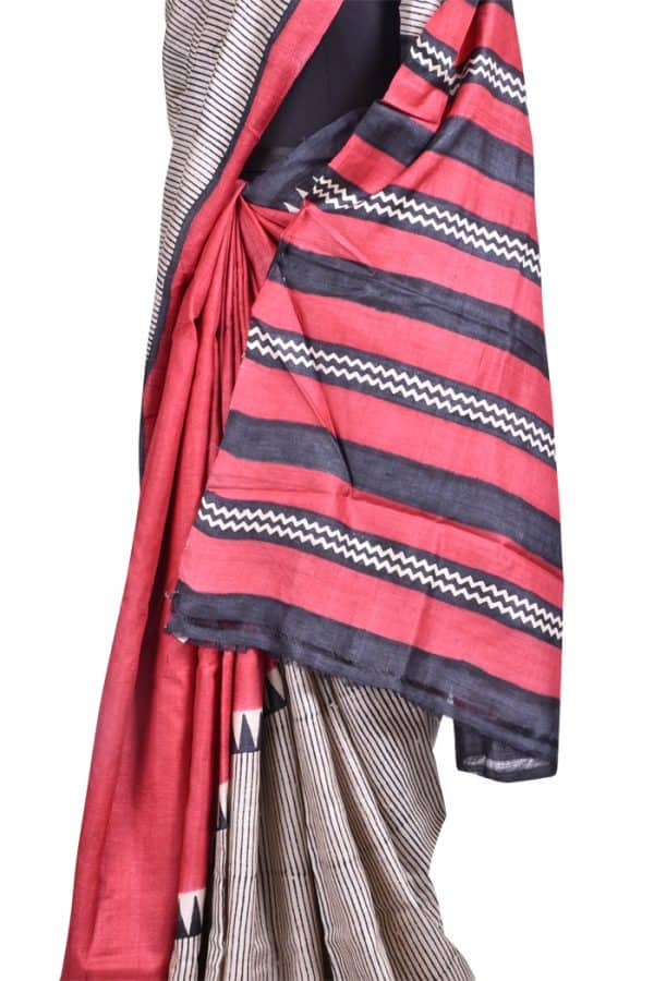 Red & Beige block printed tussar saree-8684