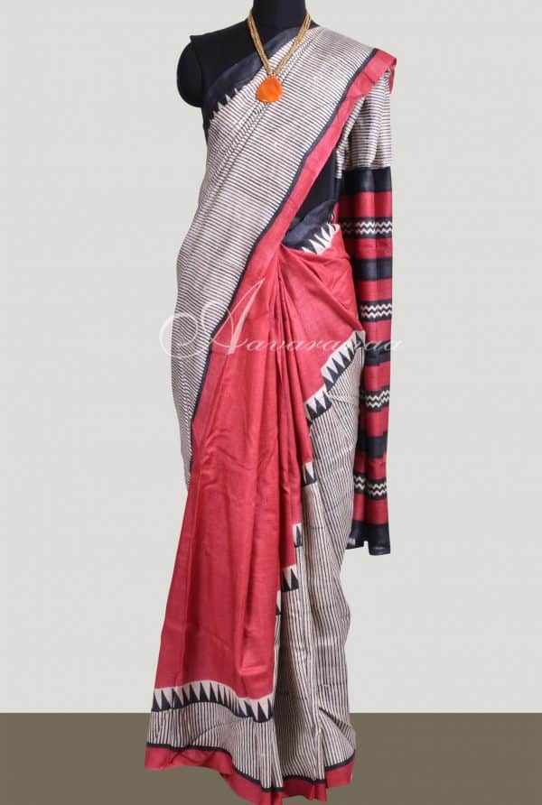 Red & Beige block printed tussar saree-0
