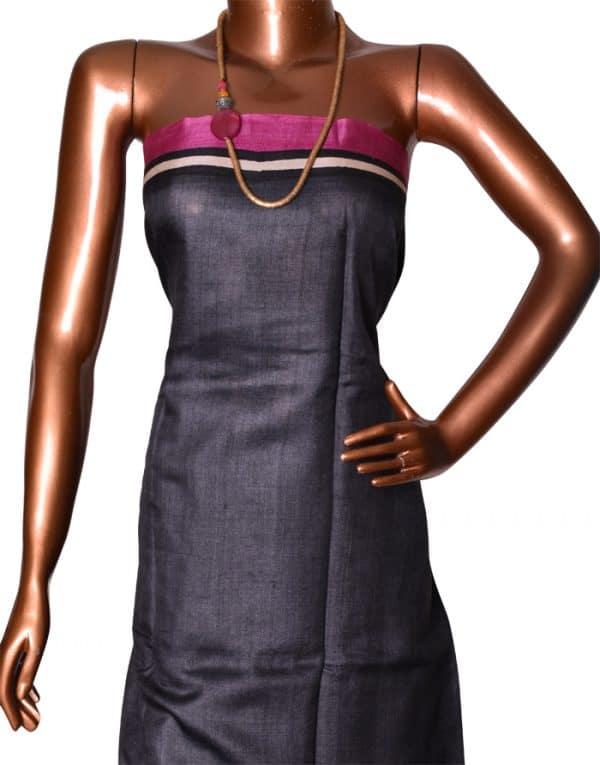 Buy Pink and Black Tussar Saree Online | Aavaranaa-8762