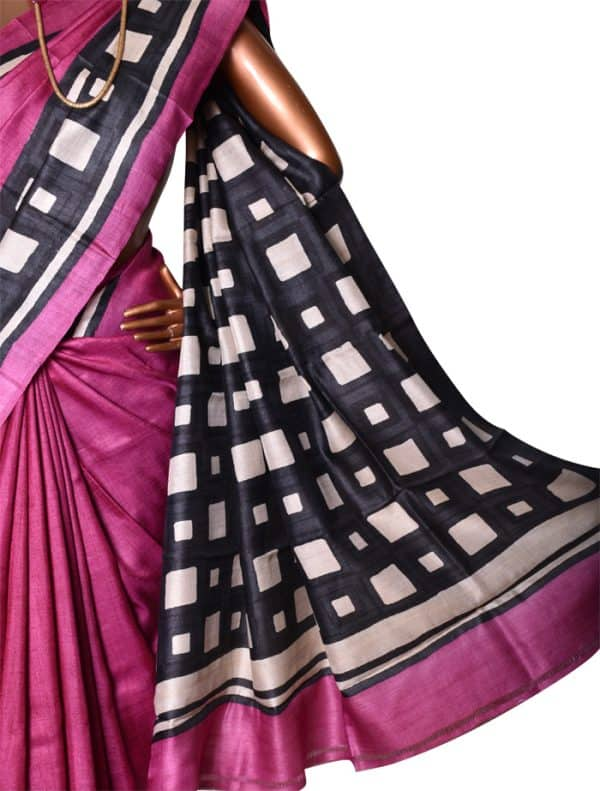 Buy Pink and Black Tussar Saree Online | Aavaranaa-8761