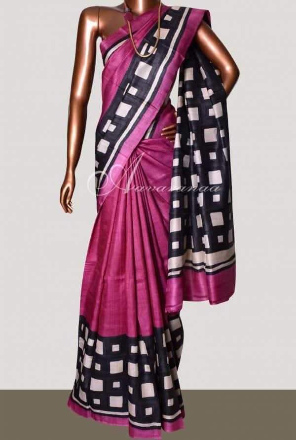 Buy Pink and Black Tussar Saree Online | Aavaranaa-8760