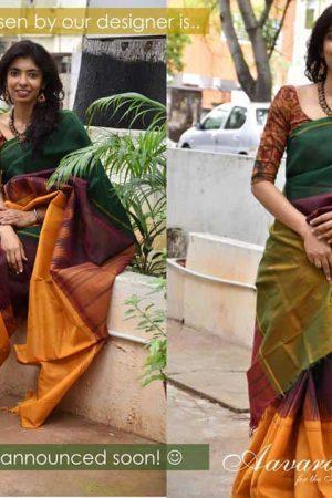 Cotton Mubbagam saree with silk border-9050