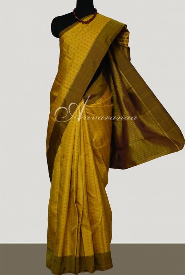 Mustard kanchipuram silk saree -0