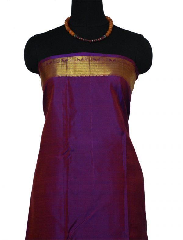 Orange kanchi silk saree with purple border-9489