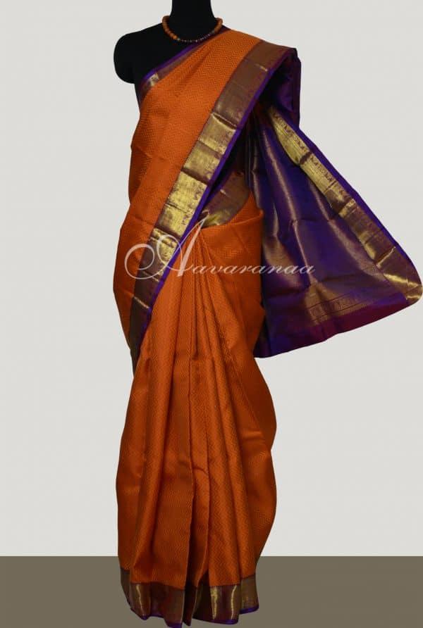 Orange kanchi silk saree with purple border-0