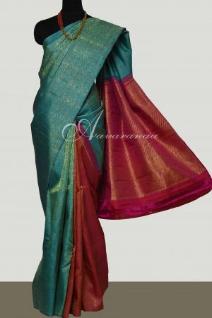 Blue and majenta partly pallu kanchipuram silk saree -0