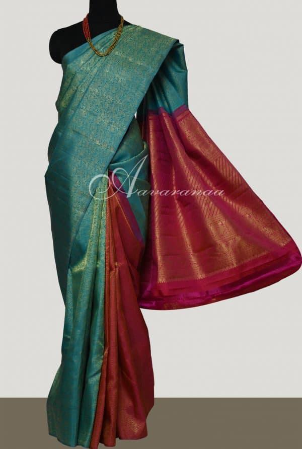 Blue and majenta partly pallu kanchipuram silk saree -0