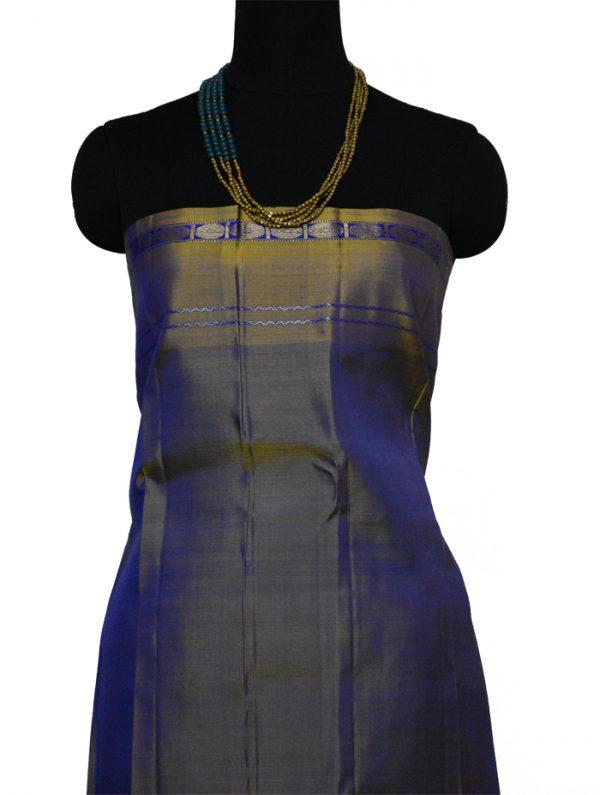 Blue kanchipuram silk saree with oil mustard border-9574