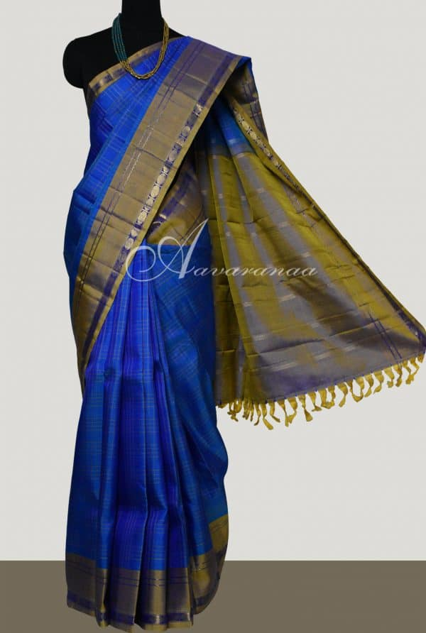 Blue kanchipuram silk saree with oil mustard border-0