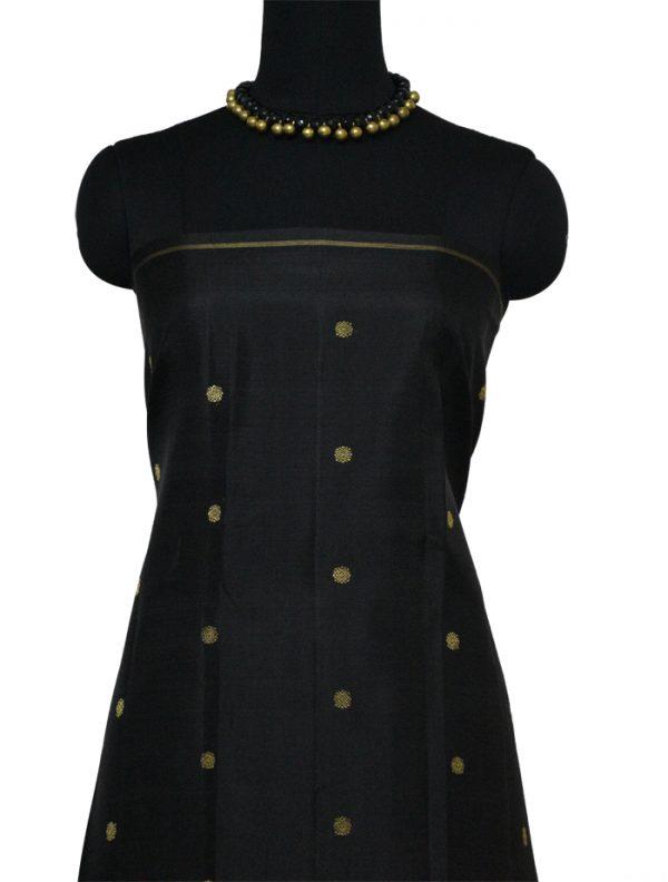 Rust and black half and half kanchi silk saree-9659