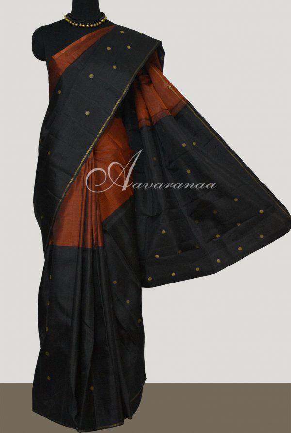 Rust and black half and half kanchi silk saree-0