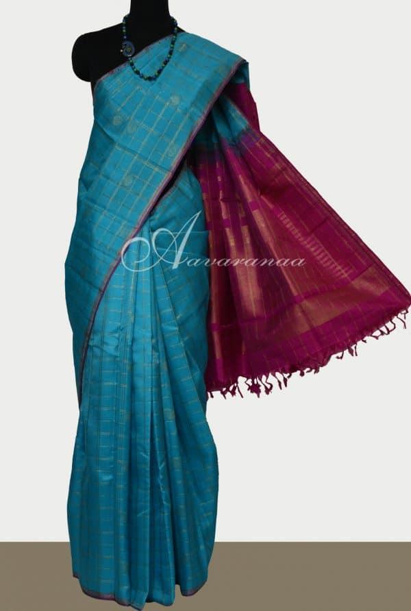 Blue kanchivaram kora silk saree with pink pallu -0
