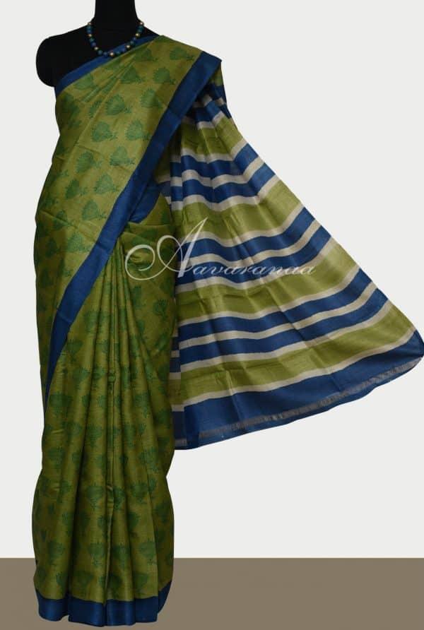 Green lotus print tussar saree-0