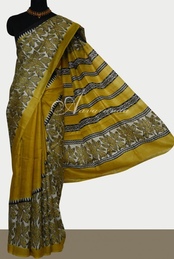 Yellow leaf print rising border tussar saree-0
