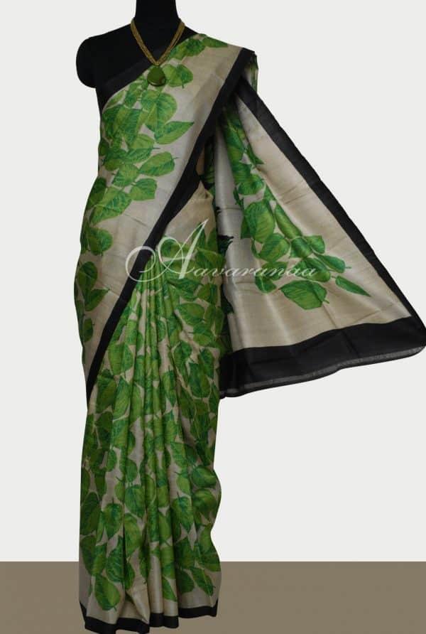 Green leaf print tussar saree-0