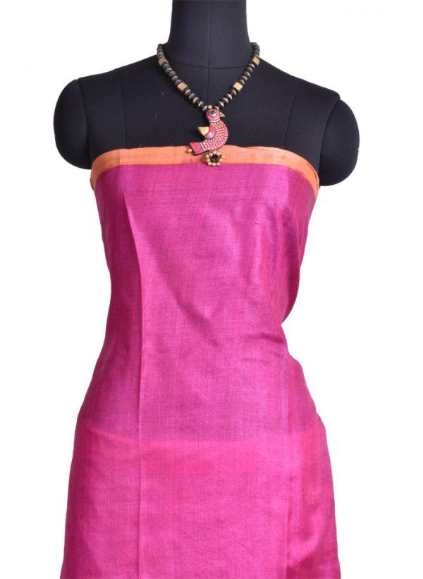 Beige pink orange flower print tussar saree-9801