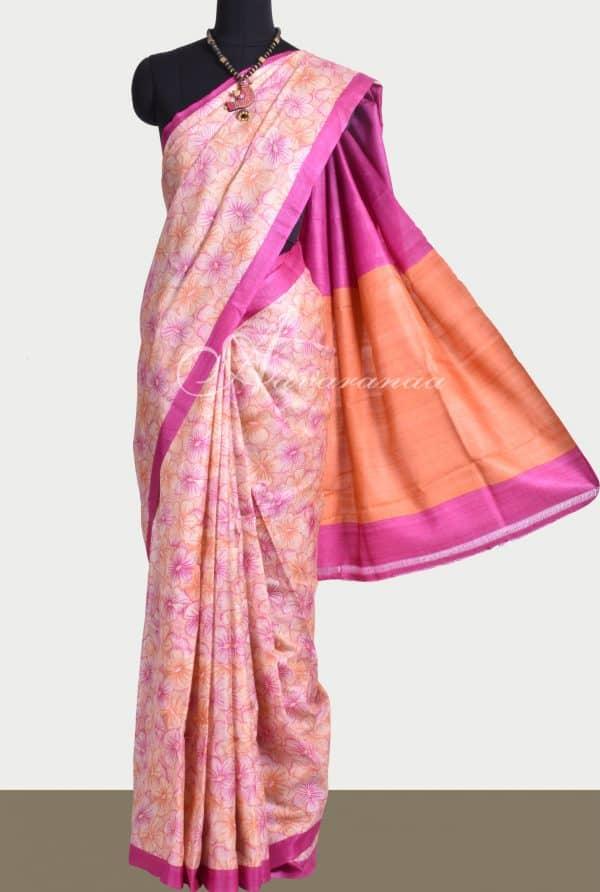 Beige pink orange flower print tussar saree-0