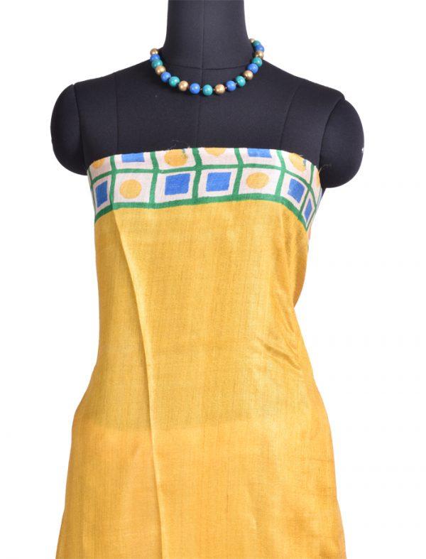 Blue yellow geometric print tussar saree-9805