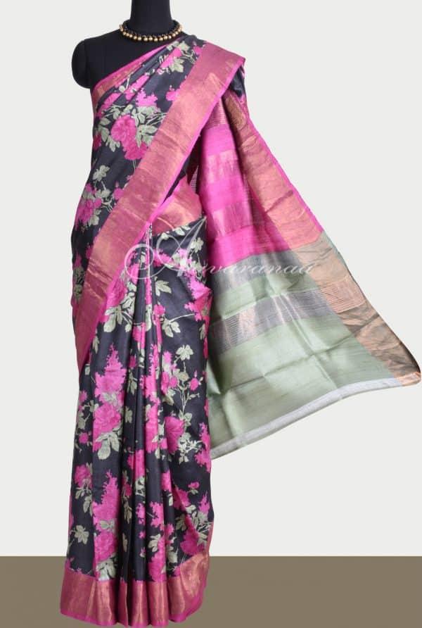 Black pink zari border tussar saree-0