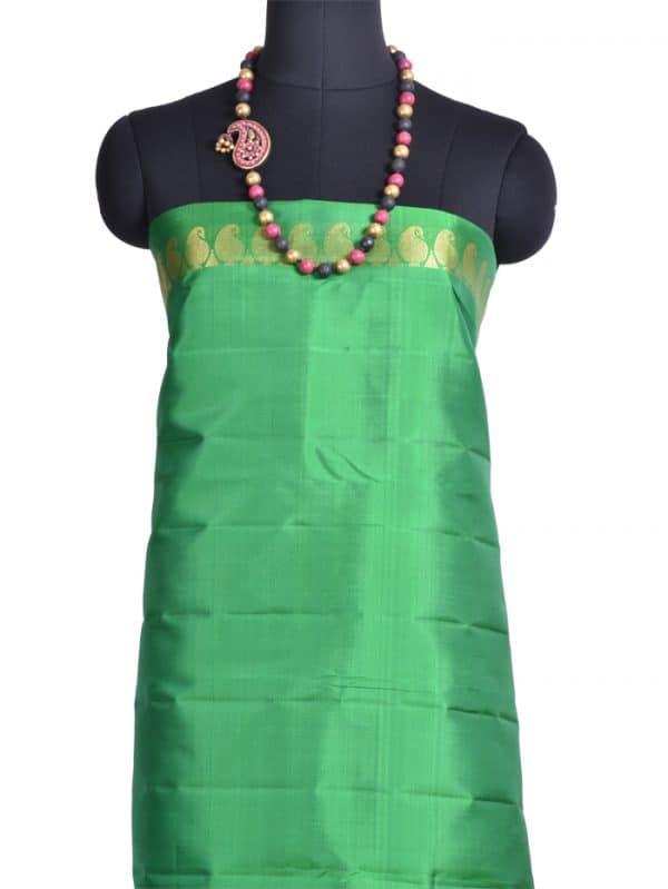 Pink kanchivaram silk saree with green pallu -9811
