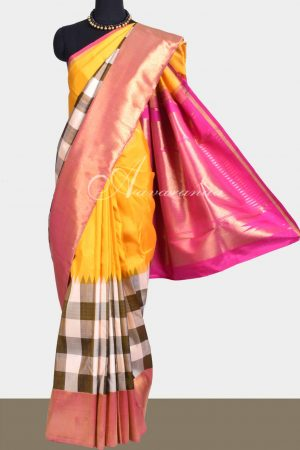 Mango yellow and pink with off white and brown checked kanchipuram silk saree-0