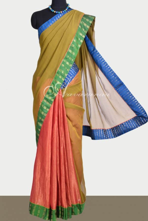 Mustard chiffon saree with red shimmer georgette -0
