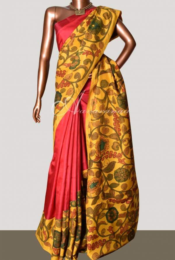 Red mustard kancheepuram silk kalamkari rising border saree-0