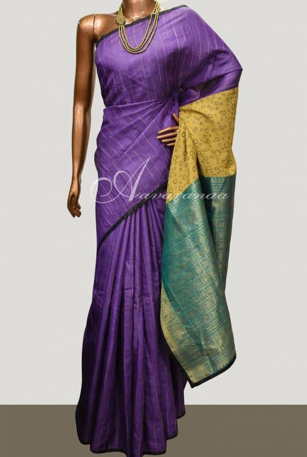 Violet tussar saree with kanchipuram silk pallu -0