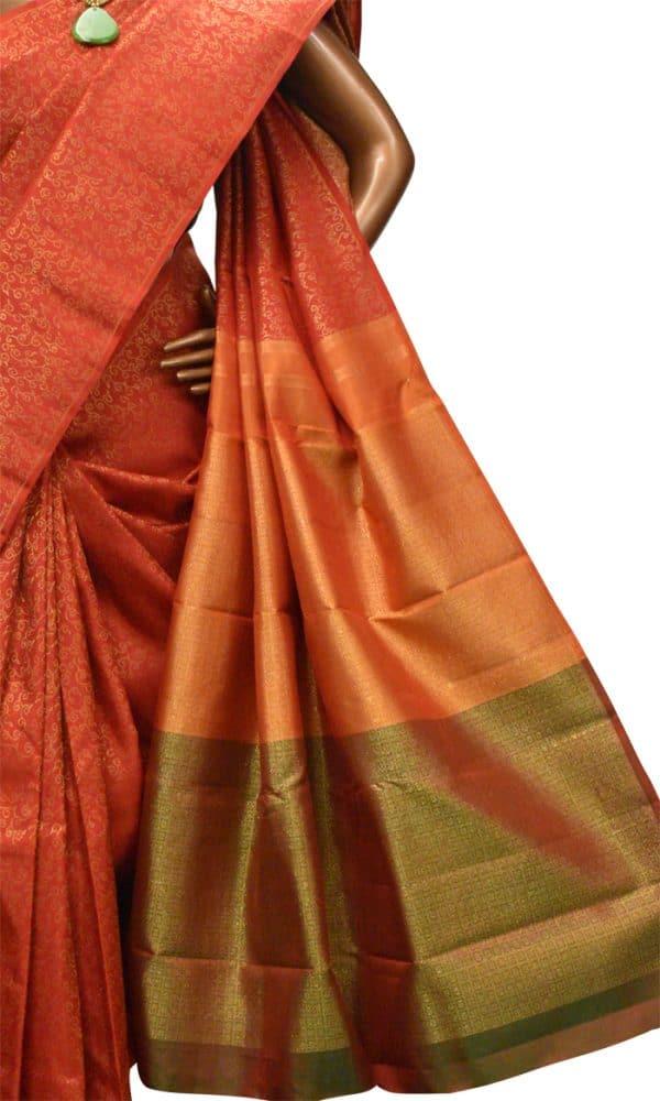 Orange kanchipuram silk saree-8960