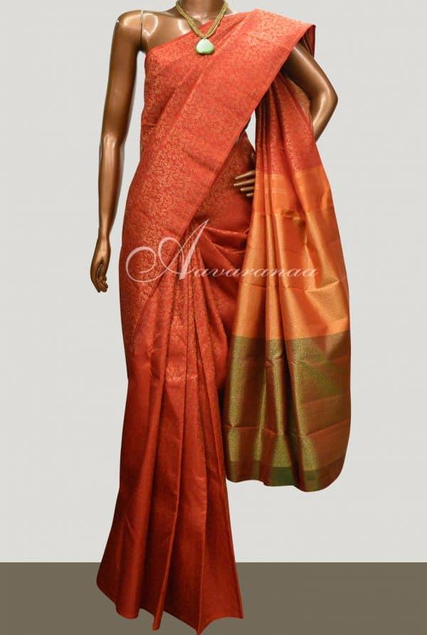 Orange kanchipuram silk saree-0