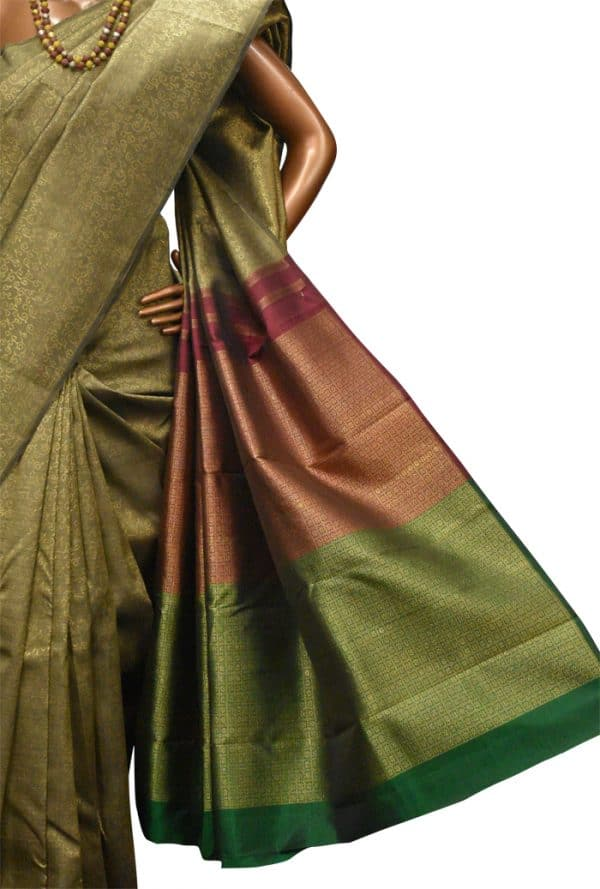 Dark beige kanchipuram silk saree-8966