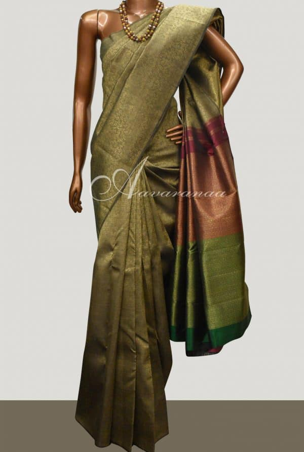 Dark beige kanchipuram silk saree-0