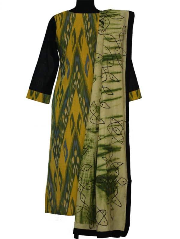 Green ikat cotton with kalamkari dupatta-8938