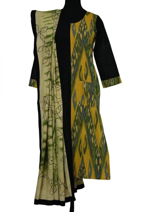 Green ikat cotton with kalamkari dupatta-0