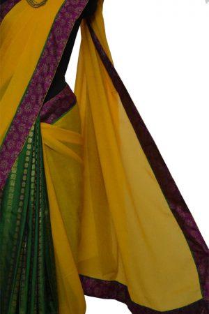 Yellow chiffon with green silk 1/2 & 1/2 saree-8989