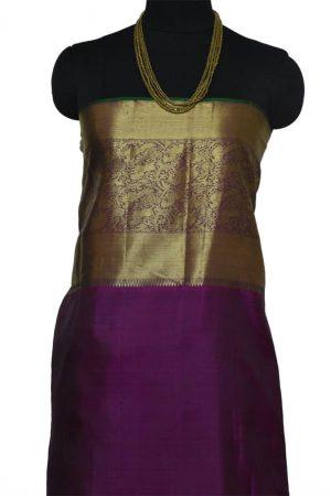 Yellow chiffon with green silk 1/2 & 1/2 saree-8988