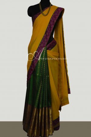 Yellow chiffon with green silk 1/2 & 1/2 saree-0