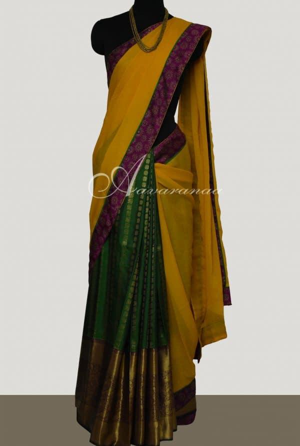 Yellow chiffon with green silk 1/2 & 1/2 saree-0