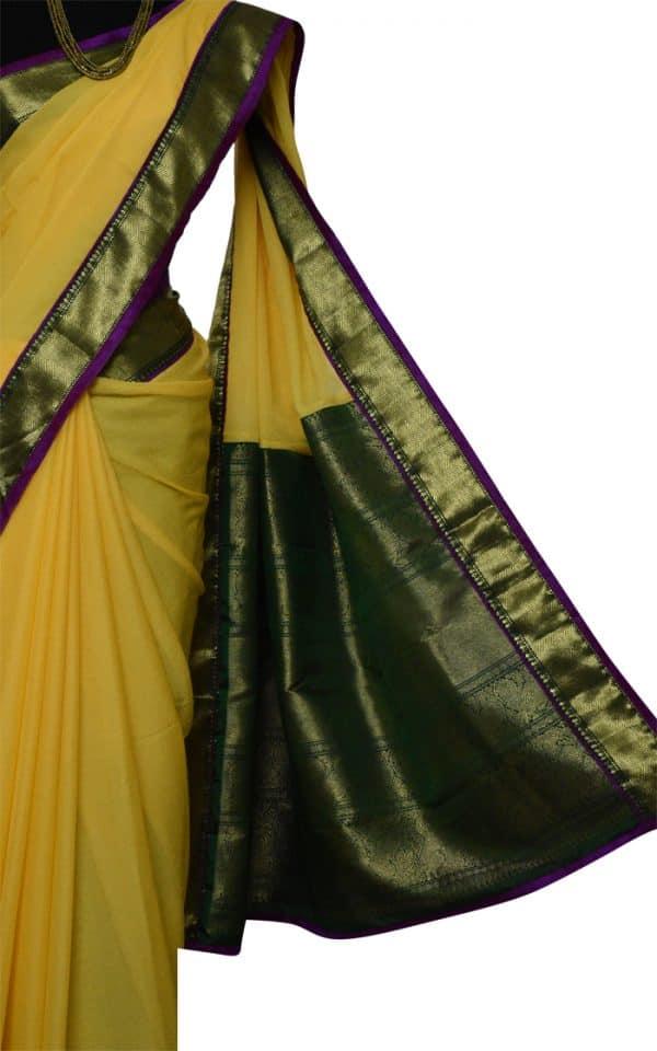 Yellow chiffon with green silk border saree-9000