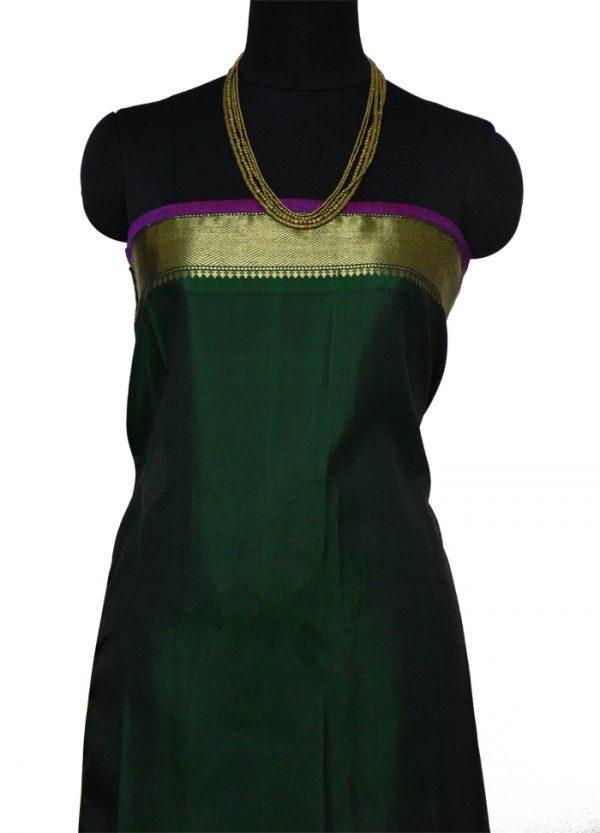 Yellow chiffon with green silk border saree-9001