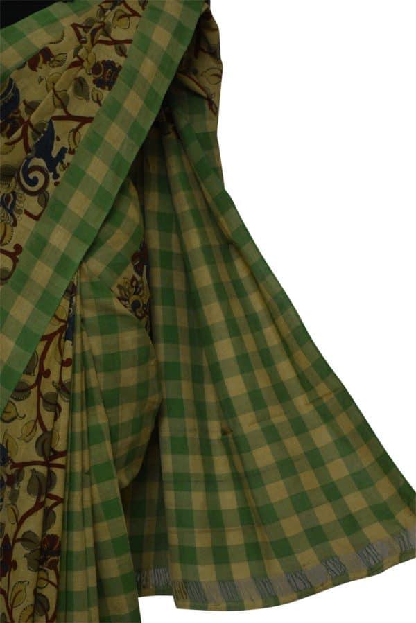 Beige and green ikatt kalamkari saree-9025