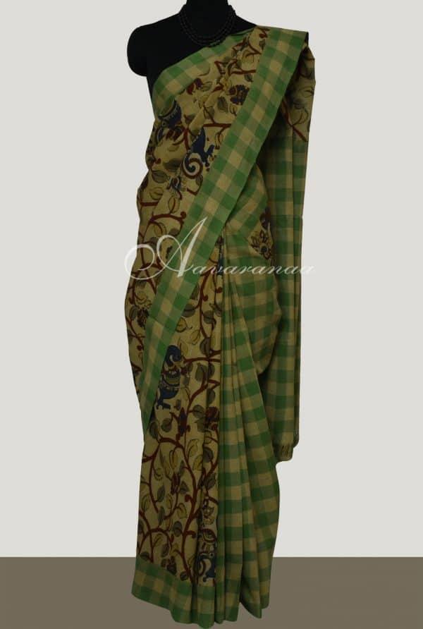 Beige and green ikatt kalamkari saree-0