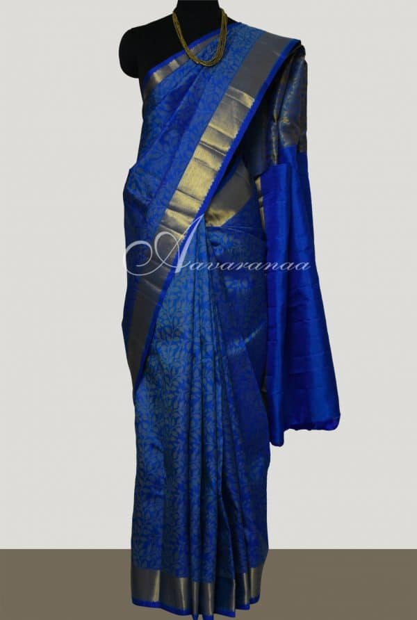 Blue kanchi silk with uppada tec-0