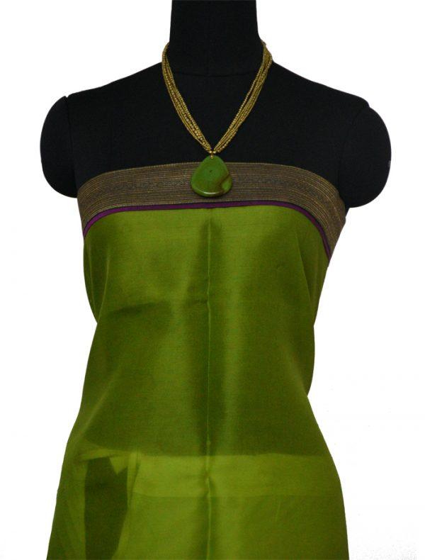 Green Oragnza saree with block prints -9143