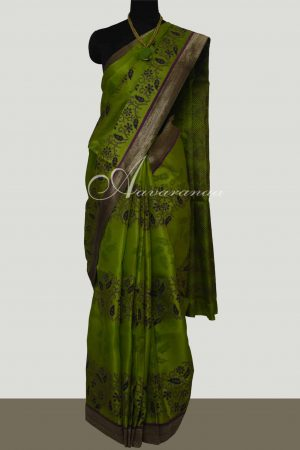 Green Oragnza saree with block prints -0