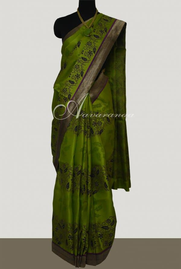 Green Oragnza saree with block prints -0