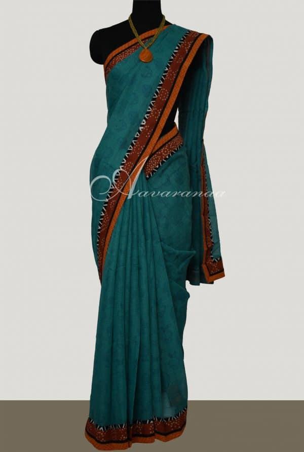Blue Kota printed saree with rust bagru border-0